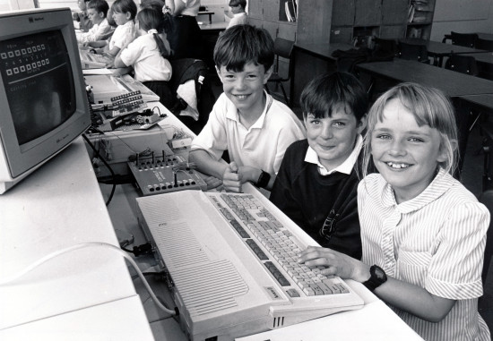 Lightcliffe C of E School computers left to right Clissa Cox Sam Oxley and Gavin Lord 27 June 1994