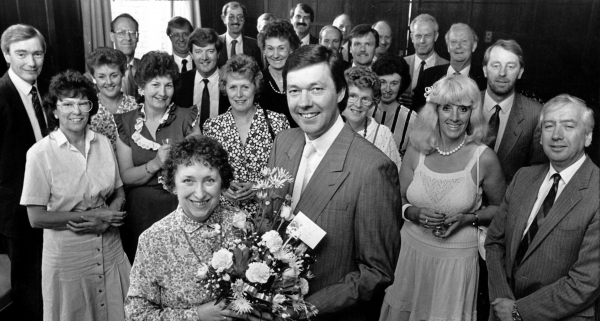 RETIREMENT - NELLIE BOOTH SAYS FAREWELL TO COLLEAGUES AT FIRTH'S CARPETS - 1990S